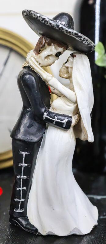 Love Never Dies Wedding Bride & Groom Mariachi Skeleton Couple Dancing Figurine