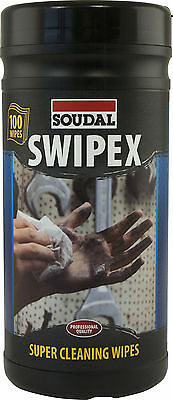 SOUDAL SWIPEX HEAVY DUTY HAND INDUSTRIAL CLEANING WIPES 100 WIPES DISPOSABLE