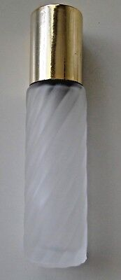 Lot of 10 Frosted Glass Roll-On Perfume Bottles & Gold Tone Cap 1/3 oz NEW