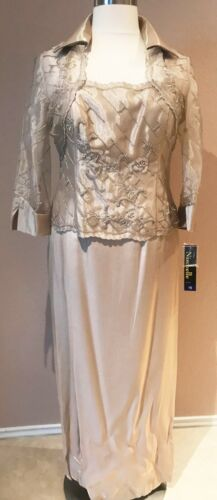 Mother of Bride Dress Formal Gown Collar Bolero Jacket Beaded Champagne Beige 12