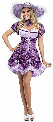 Womens Southern Belle Costume Purple Fancy Dress Hat Corset Belt Adult Bell NEW - Southern Belle Costume Adult