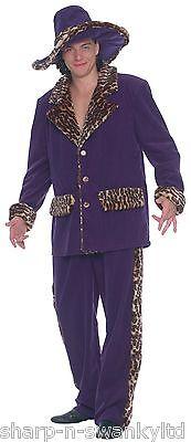 Herren Violett Tiermuster Trimm 1920er Jahre Pimp Gangster Kostüm Kleid - Lila Kostüm Pimp