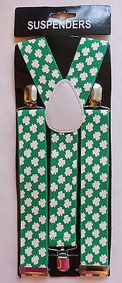 St. Patricks Day - IRISH - GREEN  SUSPENDERS with small SHAMROCKS