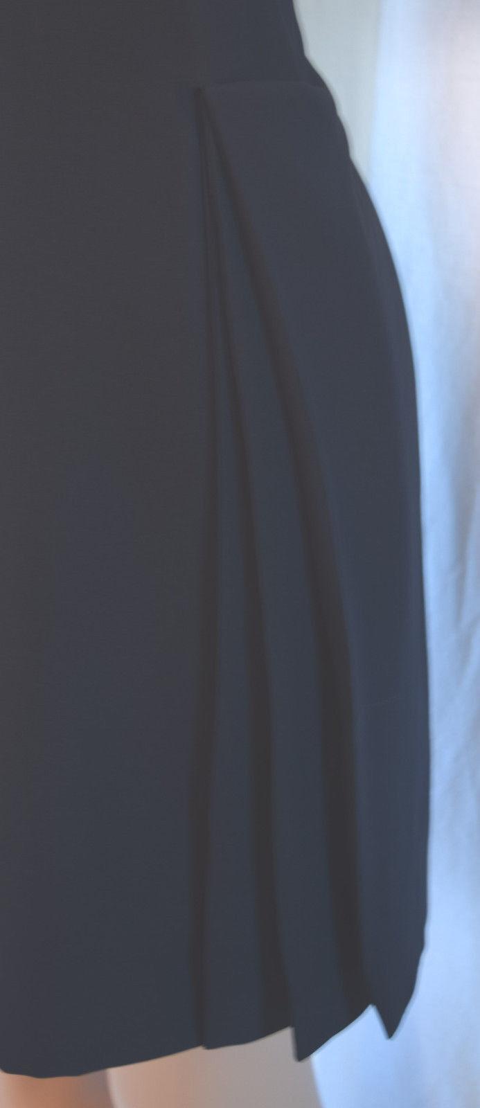 Christian dior bleu marine sequin / col perlé applique côté plissé robe 14