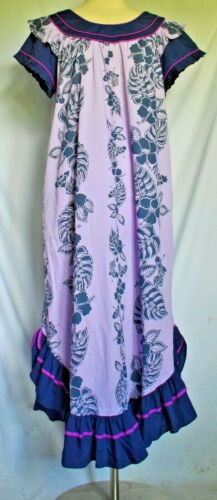 RM Orchid Purple/Dark Blue Muumuu Lounge Dress Size L #AB