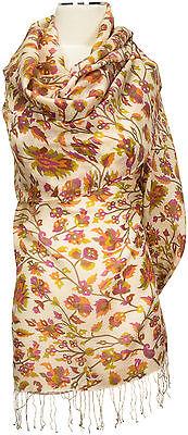 Floral Bedruckte Schal (Leichter Schal floral bedruckt Weiß Grün Braun Wolle Seide scarf stole silk wool)