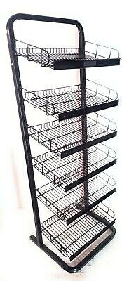 Adjustable Metal Display Rack 6 Wire Tiers Or 6 Rows Of Pegs.