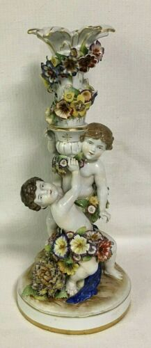 Antique German Von Schierholz Porcelain candlestick.