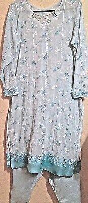 Beautiful Handmade Salwar Kameez Punjabi Outfit- Turquoise/lace  Sz S-M
