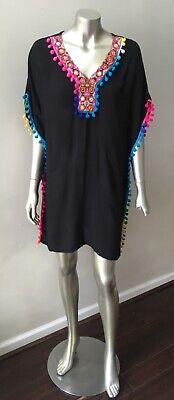 Rainbow Caftan - Pom Pom Ball Vintage Caftan Festival Black Rainbow Dress One Free Size Xs-L