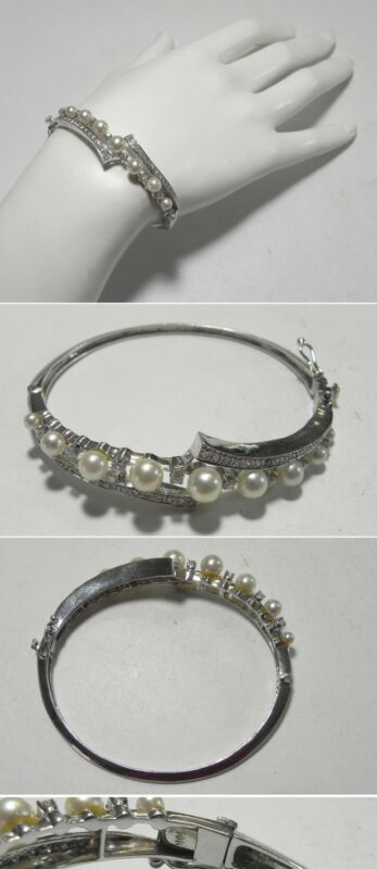 "C1145 Vintage 14K Solid White Gold Pearl & Diamond Hinged Bangle Bracelet, 6.5"""