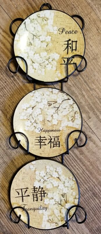 Set 3 Mini Ceramic Plates Japanese Peace Happiness Tranquility Metal Wall Hanger