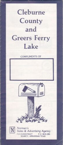 c1980 Map Of Cleburne County And Greers Ferry Lake Brochure