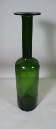 Vintage Holmegaard Danish Modern Glass Gulvase Otto Brauer Style Dark Green Vase