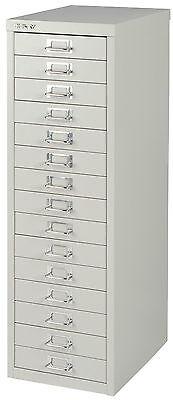 Bisley 15 multi drawer Filing cabinet Grey