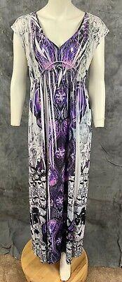 Apt 9 V Neck Embellished Sublimation Maxi Dress sz M (8696) Sublimation Maxi Dress