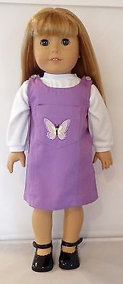 - Lavender Butterfly Jumper 3pc Set Fits 18 inch American Girl Dolls