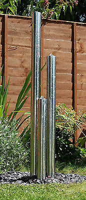 3 Tube Water Feature Fountain Contemporary Silver Stainless Steel Column Tower