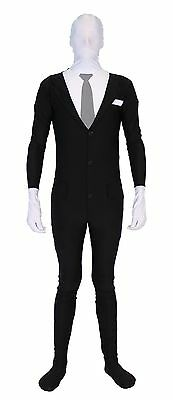 Adult Teen Meme Slenderman Slender Man Spandex Full Body Zip Up Bodysuit Costume