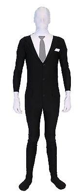 Adult Teen Meme Slenderman Slender Man Spandex Full Body Zip Up Bodysuit Costume