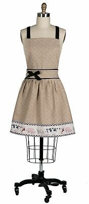 Kay Dee Farm Animals Cow Pig Goat Rooster Polka Dot Girlie Bow khaki Apron NEW  (Girly Aprons)