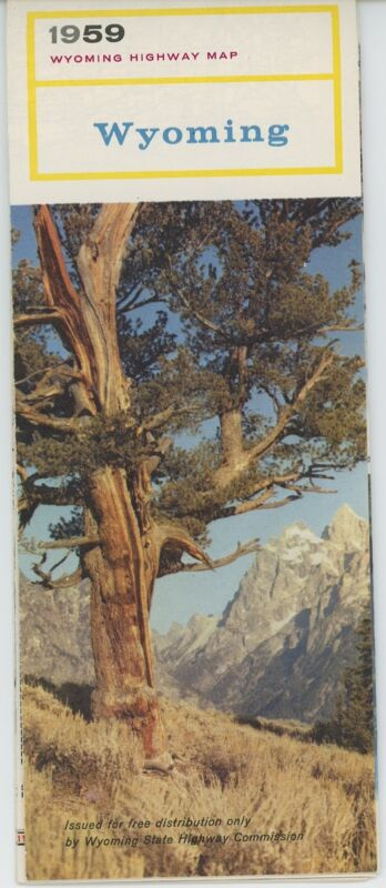 1959 Wyoming Road Map State Highway Commission WY Street Vintage Travel Trip