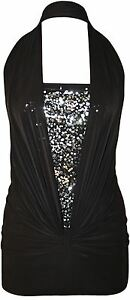 New Ladies Plus Size Ruched Sequins Halter Neck Top