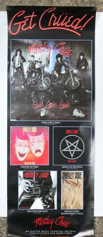 "Motley Crue Poster ORIGINAL promo for ""Girls Girls Girls"" 11"" X 30""  !"