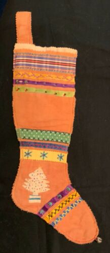 ANTIQUE CHRISTMAS 'SAMPLER STOCKING' HAND EMBROIDERED