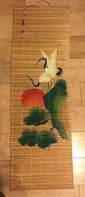 Hanging Roll Up Bamboo Scroll- Japanese Art. 36 x 12