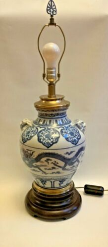 Chinese Blue White Dragon Motif W/ Foo Dog Vase Lamp Vintage