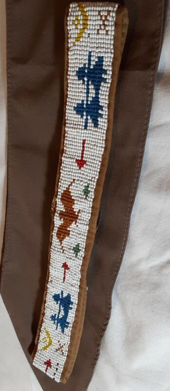 Vintage Brownie Scout beaded homemade belt and sash 1980