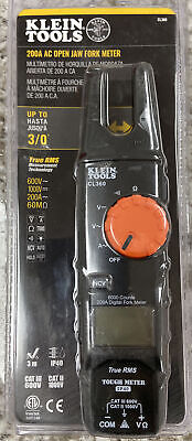 Klein Tools Open Jaw Fork Meter Ac Auto-ranging 200 Amp With Case