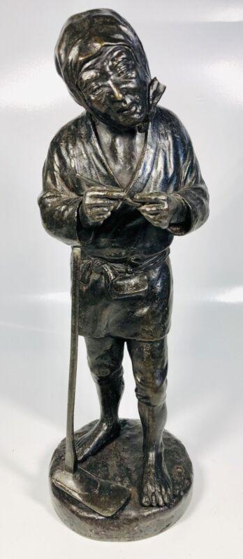 Antique 19th Century Japanese Farmer With Garden Hoe Bronze Statue