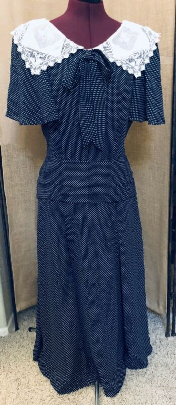 VINTAGE NANCY JOHNSON DRESS CLASSIC NAVY BLUE WHITE POLKA DOT