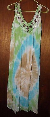 Cleopatra Tie Dye Light Pastels V Neck Beach Dress Cover Up - Free Size