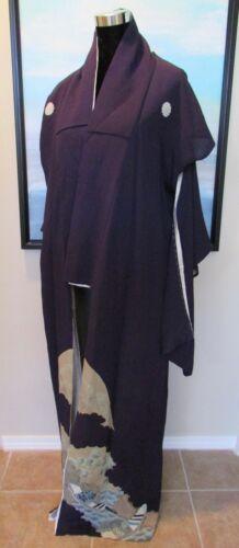 VTG Japanese Tomesode Kimono Long Formal Deep Purple