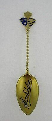 Swedish Silver Gilt & Enamel Sovenir Spoon For Stockholm, Double Shield Crest