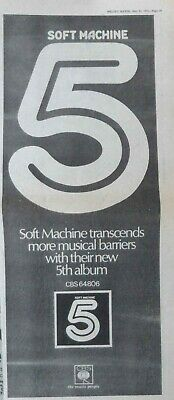 SOFT MACHINE : 5 - Large NEWSPAPER ADVERT 1972 40cm x 16cm for sale  Shipping to Nigeria