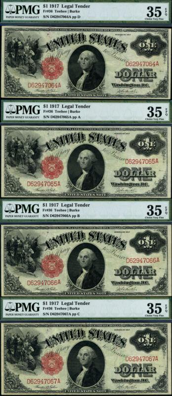 FR. 36 $1 1917 Legal Tender 4 Note Consec. Lot Choice PMG VF35 EPQ PQ