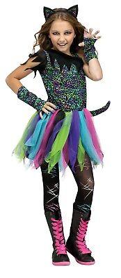 Fun World Wild Rainbow Katze Kitty Bunt Kinder Mädchen Halloween Kostüm 123492