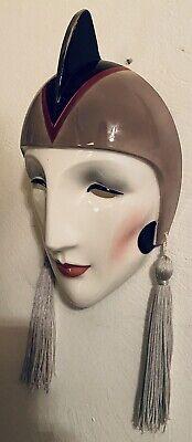 Vandor Wall Hanging Face Mask Unique Original Hand painted Pelzman 1985 Tassels