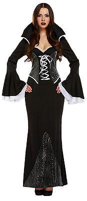 edles schwarzes Vampirella Kostüm m. Spinnennetz Design Halloween Grusel Gothik (Schwarzes Vampir Kostüm)