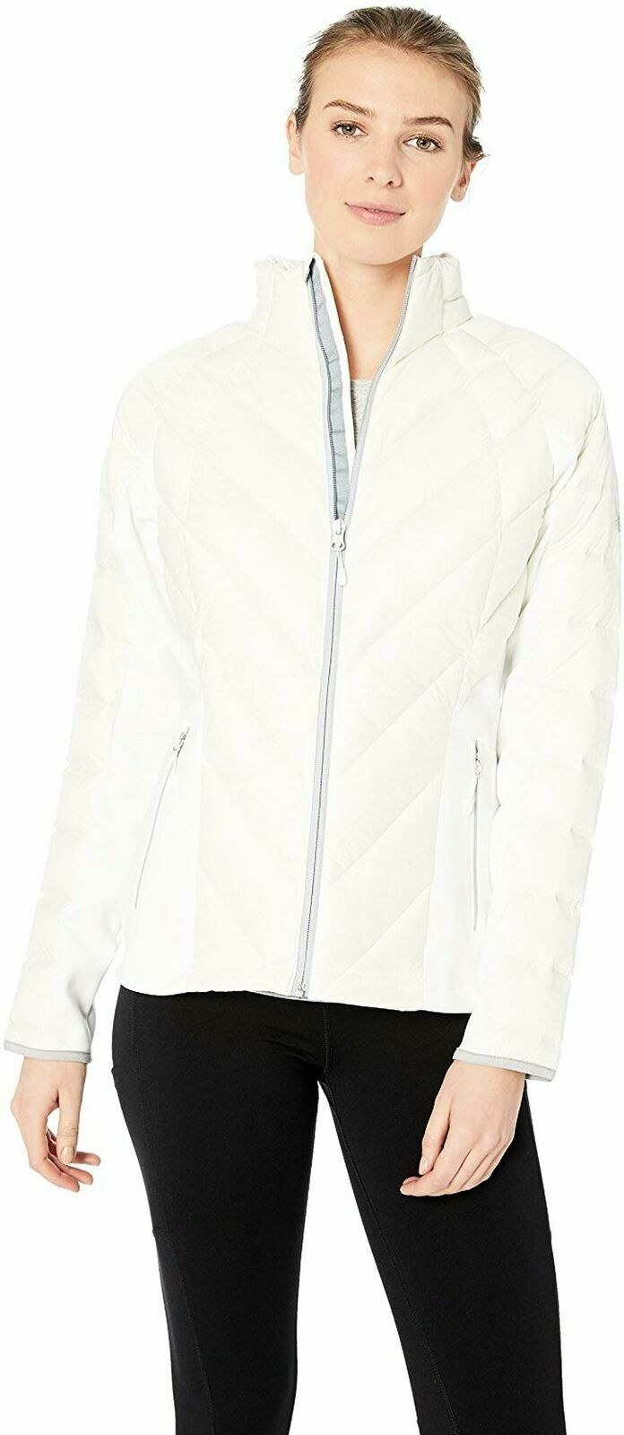 Spyder Women's Syrround DOWN Hybrid Jacket – White/Alloy, Medium Clothing, Shoes & Accessories
