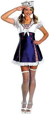 Ladies Blue Ahoy Matey Flirty Sailor Girl Nautical Fancy Dress Size Small (Flirty Sailor Girl)