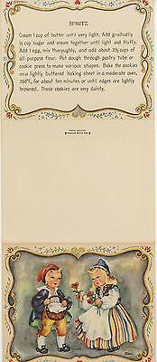 VINTAGE SWEDISH BAKER SPRITZ COOKIE RECIPE PRINT 1 BOTANICAL GARDEN FLOWERS CARD