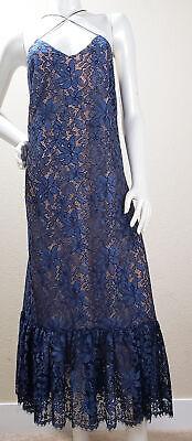 Anthropologie Maxi Moulinette Soeurs Vetements Blue Lace Dress Floral Size 8 EUC
