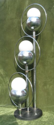 Vintage Modern Chrome 3 Glass Orb Eyeball Table Lamp Robert Sonneman Era