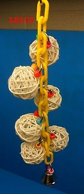 "LB102 10"" WOVEN BALL BIRD TOY COLORS BEADS PLASTIC CHAIN BELL PARROT CONURE TIEL"