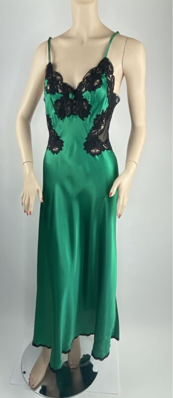 Amazing Vintage Christian Dior Nightgown Emerald Green Satin & Glossy! S-M